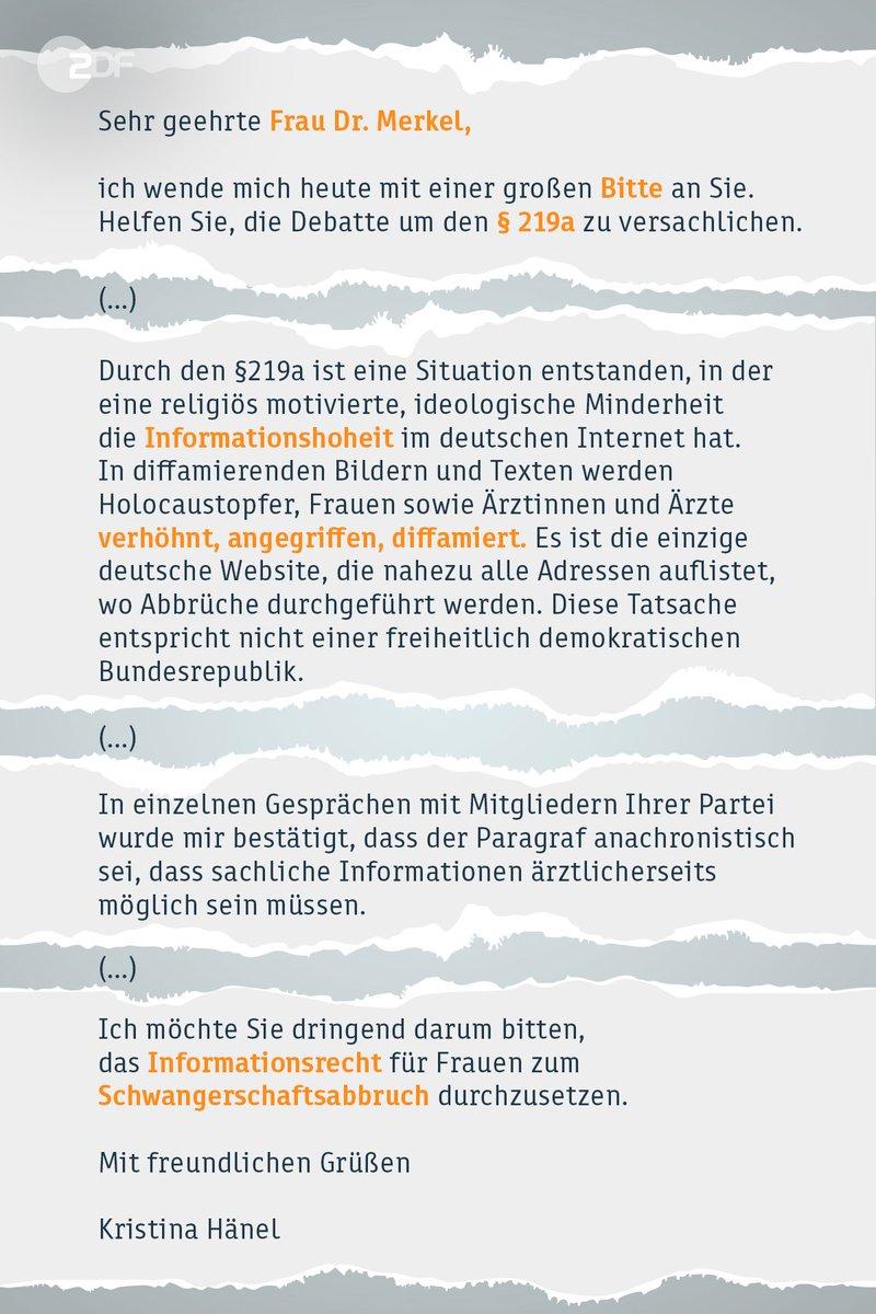 Die wegen unerlaubter Werbung für #Schwangerschaftsabbrüche verurteilte Ärztin Kristina Hänel hat sich mit einem offenen Brief an Bundeskanzlerin Angela #Merkel gewandt.