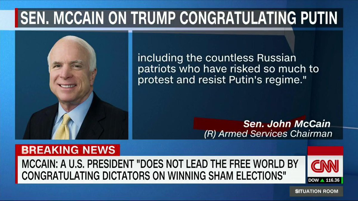 Stevige kritiek van de Republikeinse senator John McCain op de felicitaties van Trump aan Poetin #Amerika