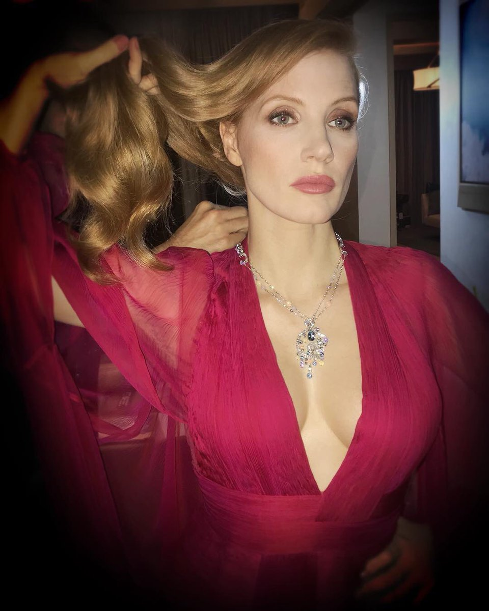 Jessica Chastain while getting ready for Piaget party last night.