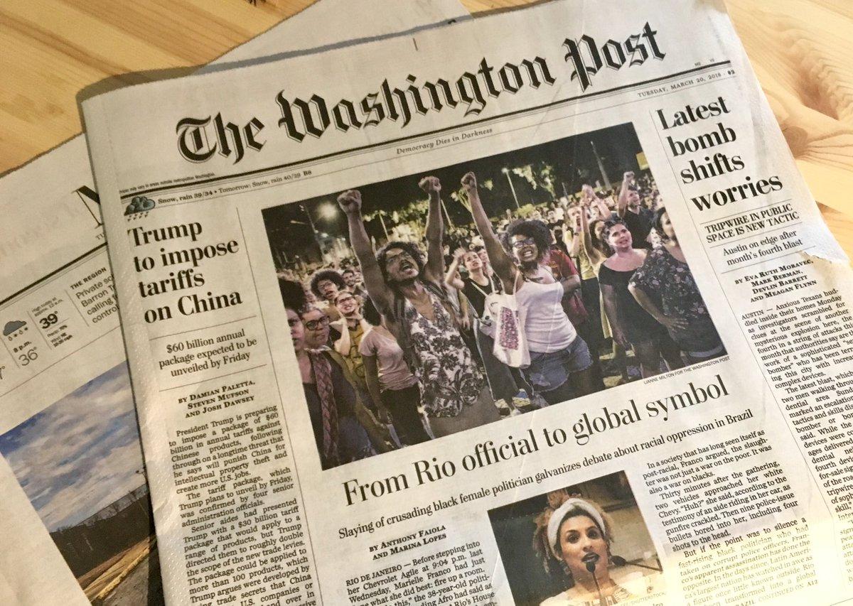 """""""Símbolo global"""": que diz a matéria de capa do Washington Post sobre a morte de Marielle Franco e o racismo no Brasil: https://t.co/ziknGBK1y6"""