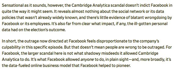 The Cambridge Analytica scandal tells us almost nothing about Facebook we didn't already know. Rather, it reminds us of something we should have kept in mind all alonghttps://t.co/9mF6vlbWyf.