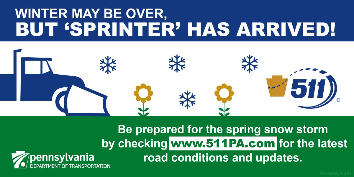 Winter may be over, but 'Sprinter' has arrived! Be prepared for the spring snow storm by checking  http://www. 511PA.com  &nbsp;   for the latest road conditions and updates. #WinterStormWarning <br>http://pic.twitter.com/rIvX4elcSD