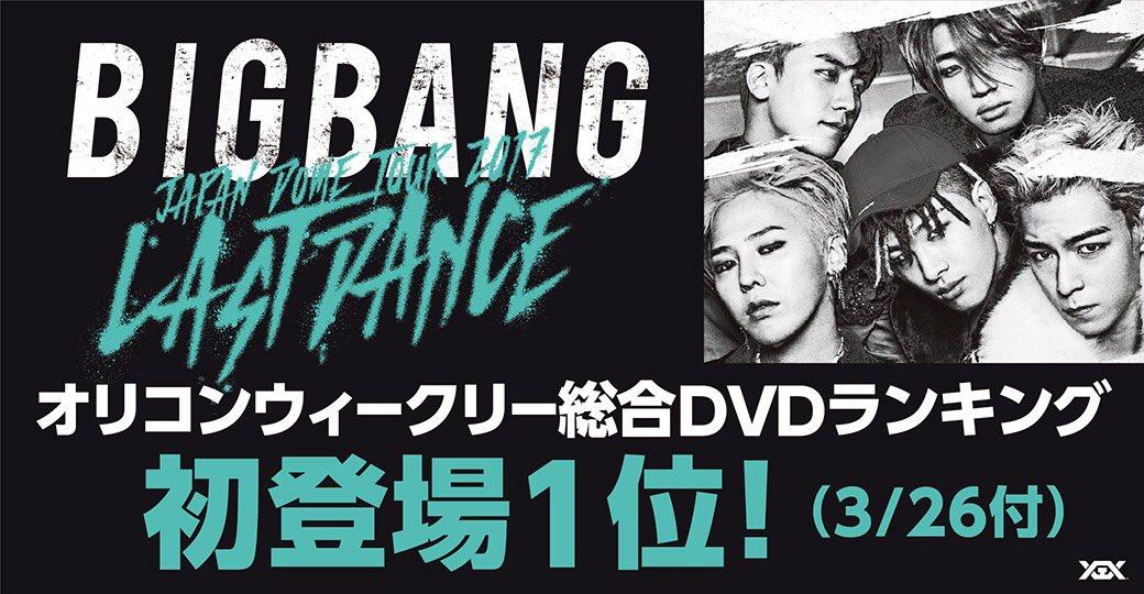 【#BIGBANG】 3/14発売 ライブ映像作品「BIGBANG JAPAN DOME TOUR 2017 -LAST DANCE-」3/26付オリコンウィークリー総合DVDランキング1位獲得🎉ありがとうございます😊  商品詳細・ご購入はコチラ▶︎https://t.co/nNqHe1gML4  #GDRAGON #ジヨン #SOL #テヤン #TOP #DLITE #テソン #VI #スンリ
