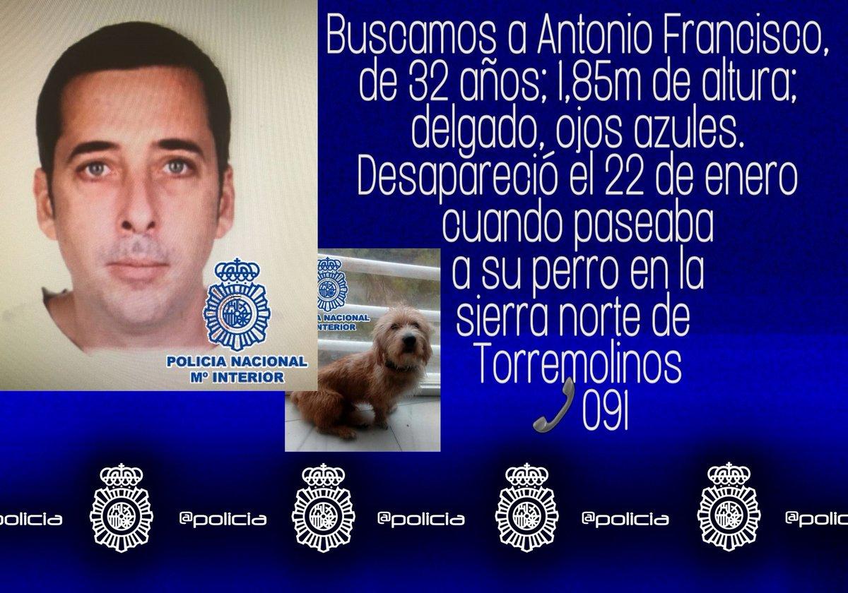 🚩Seguimos buscando a Antonio Francisco, de 32 años, desaparecido desde el día 22 de enero enla sierra de #Torremolinos. Si tienes cualquier info 📞091