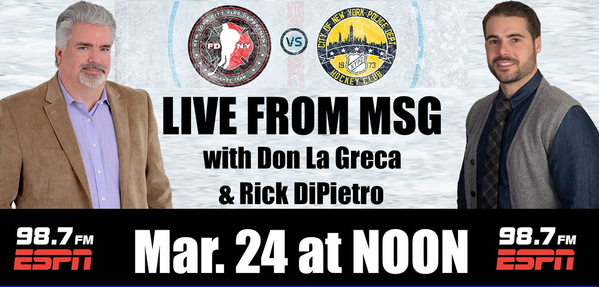 LISTEN TO WIN TIX to 45th Annual Ice Hockey Heroes: FDNY vs. NYPD on Mar. 24 @TheGarden Tune to @HDumpty39 @ChrisCanty99 @RothenbergESPN in the 11AM hour for your chance.  ALSO listen to LIVE play-by-play by @DonLagreca @HDumpty39 this Saturday on @ESPNNY98_7FM online & ESPN App