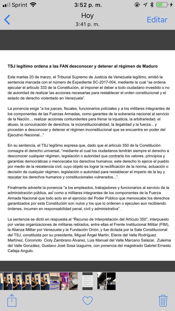 #NoticiasEvtv EL TSJ Legítimo, en  interpretación del art. 350 de la Constitución de la República de Venezuela, ordena a las FAN desconocer y detener el régimen de Nicolás Maduro. #20Mar