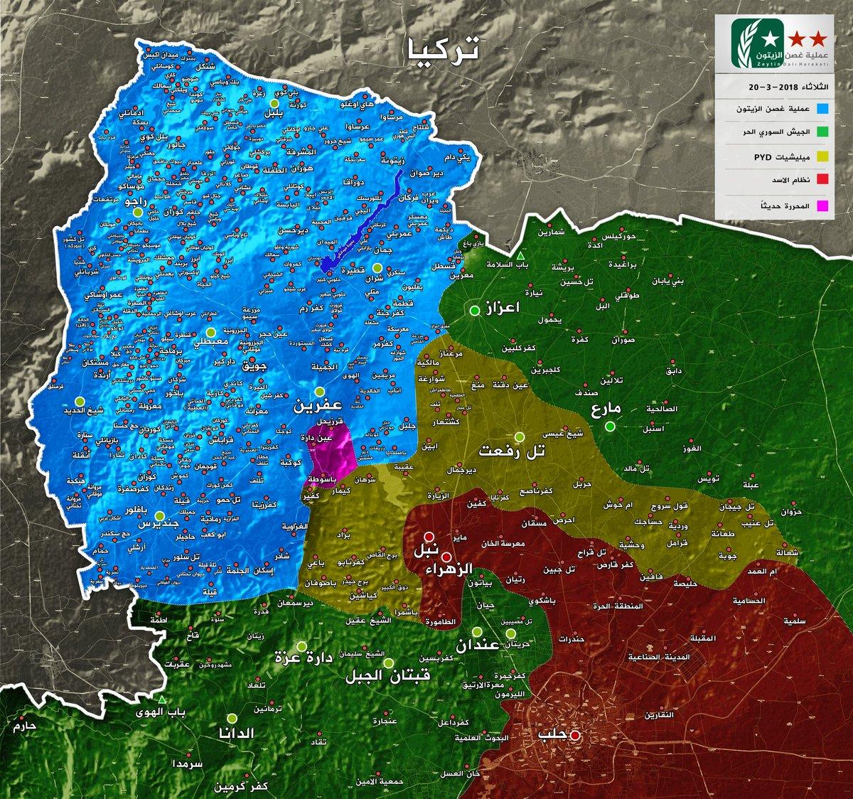 20.03.18  güncel harita #afrin #zeytinda...