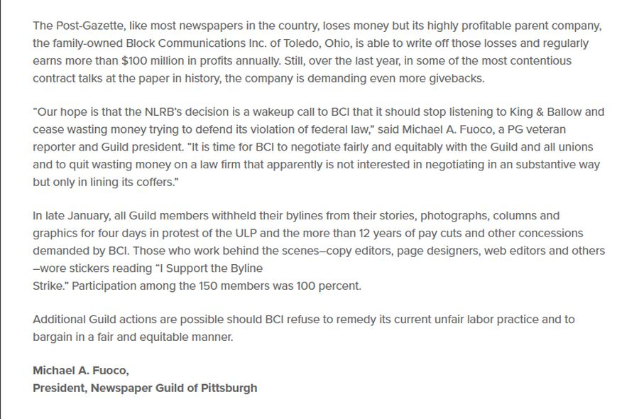 Newspaper Guild Of Pittsburgh  On Twitter An Update The