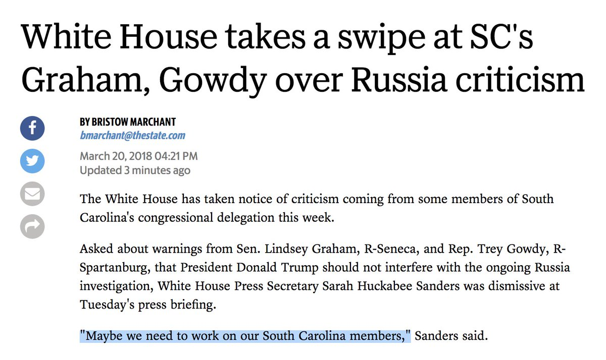 We live in a timeline where South Carolina Republicans — including the Benghazi guy — are a thorn in a Republican president's side.  So, you know. Supes normal. https://t.co/yaFD392MCX