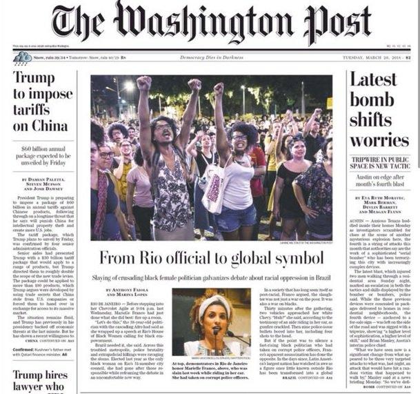 "Marielle é capa do Washington Post: ""Agora ela é um símbolo global"" https://t.co/X59l0LQBZf"