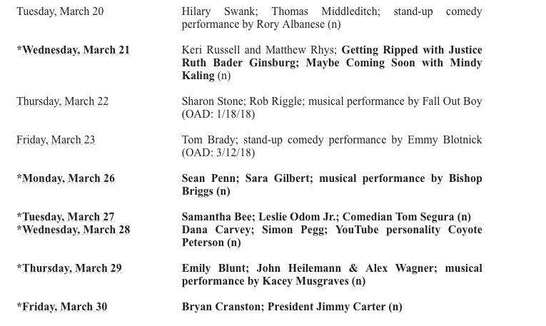 Here's an interesting late night guest coming up - Jimmy Carter on the Colbert couch on March 30th: