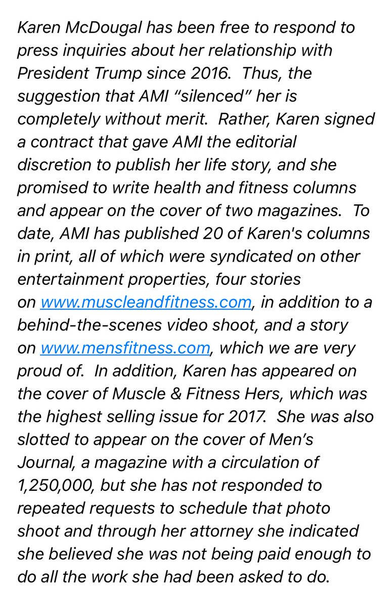 National Enquirer's parent company is responding to Karen McDougal's suit: 'McDougal has been free to respond to press inquiries about her relationship with President Trump since 2016. Thus, the suggestion that AMI 'silenced' her is completely without merit.' 🤔