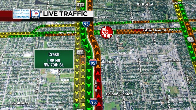 CRASH: I-95 NB & NW 79th St. Delays are building. #TRAFFIC #MIAMI