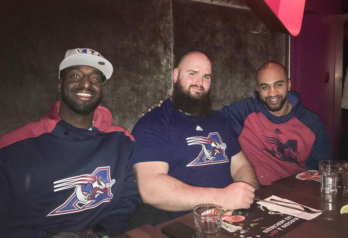 👍 to the staff of Cosmos on Laurier Boulevard in Québec City! The Als, Oumar Touré, Phil Gagnon and S.J. Haidara, had a great evening. #AlsMTL