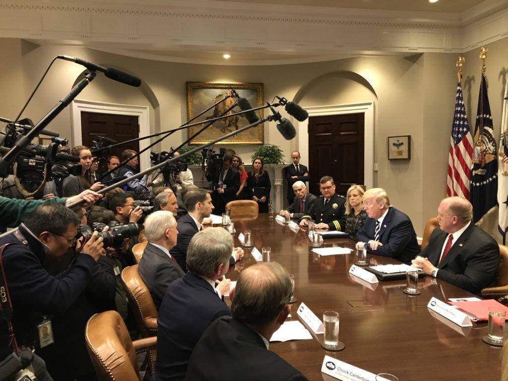 President Trump Hosts Law Enforcement Ro...