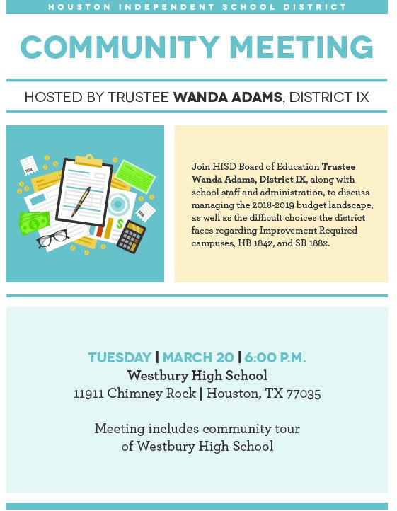 Tonight: #HISD Trustee @Wandaful1913 is...