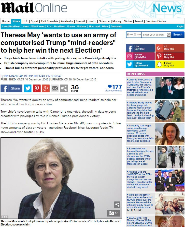Daily Mail article showing that Theresa May wanted to work with Cambridge Analytica back in 2016