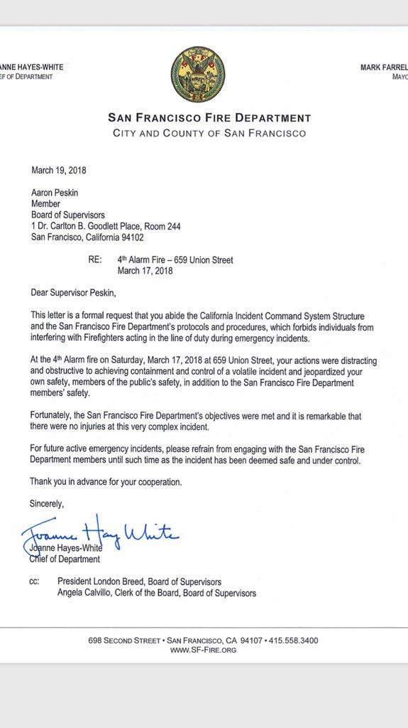 Rachel Swan On Twitter Harsh Letter From Fire Chief Joanne Hayes