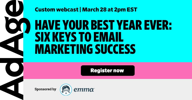 Free Ad Age Webinar. Learn key strategies to email marketing success. Sponsored by Emma. https://t.co/MpwXyQZGTJ https://t.co/zEI3NpHwei
