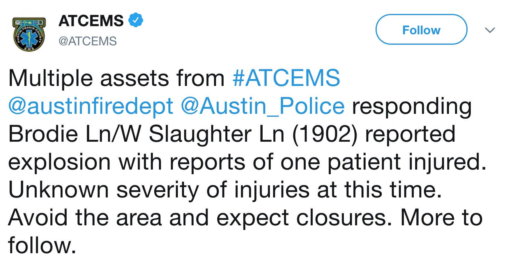 JUST IN: Authorities in Austin responding to reports of another explosion. https://t.co/mn2SdvtEbN https://t.co/XC37g1BsLu