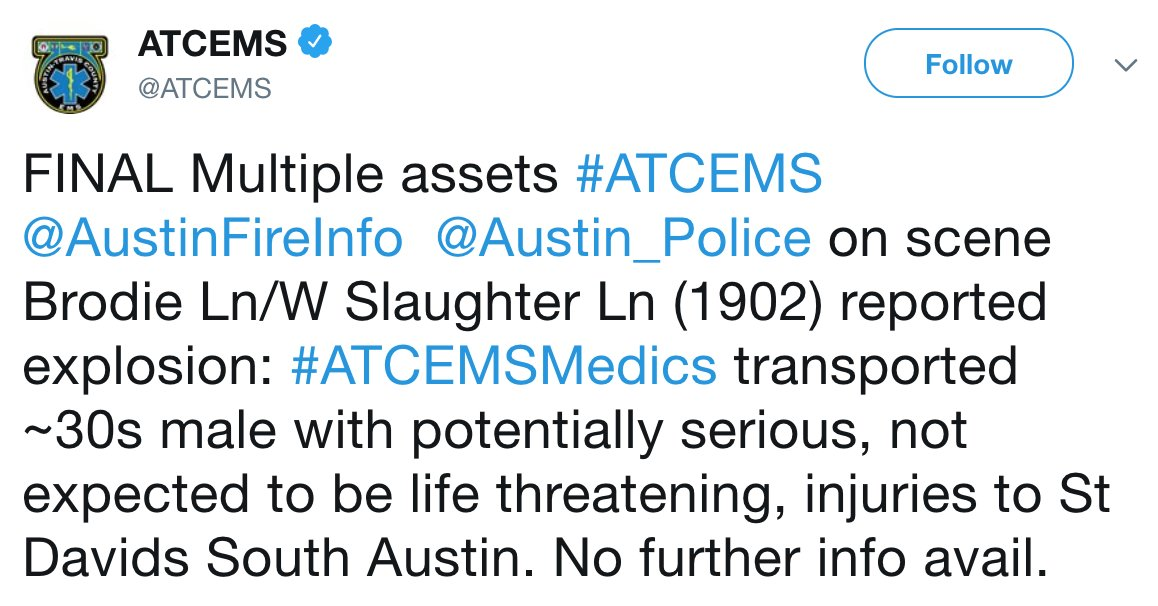 LATEST: Another reported package explosion in Austin leaves one person injured, officials sayhttps://t.co/aZQNKIAmEO.