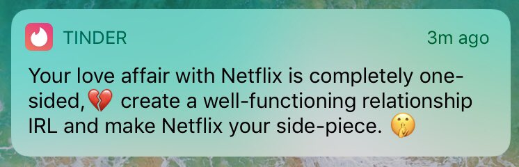 ummmm excuse me @tinder but im a very dedicated partner https://t.co/6YY6vXBWD4