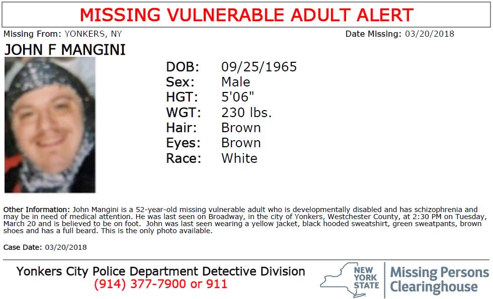 #MissingVulnerableAdult John Mangini W/M/52, developmentally disabled & has schizophrenia, from Yonkers, NY. Seen? Call 9-1-1. Multilingual & ASL Link: .https://t.co/YuJCWU4Yr9