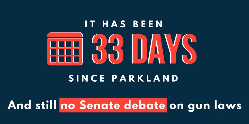 On Monday I made a reasonable offer on behalf of Democratic leadership to debate gun violence before the Easter recess. I've heard nothing from the Senate GOP in response.   It's been 33 days since #Parkland and still nothing.