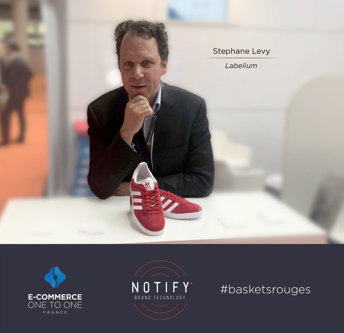 #MeetUs ! Stéphane Levy @labelium chausse les #basketsrouges de @Notify au @ecommerce1to1 #Tempsreel #Ecommerce #EC1to1