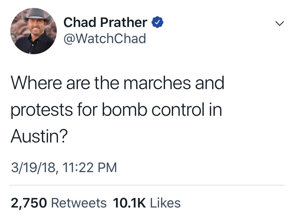 Actual interesting point is that  bombs are of course illegal and tragedies like Austin are rare.   The number of people in the U.S. killed by explosives in 2015 was 8.    Gun deaths were 36,252.