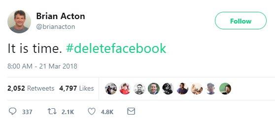 """왓츠앱 창업자 """"페이스북 지워야 할 때 됐다"""" https://t.co/kd9sobQ9JO #zdk"""
