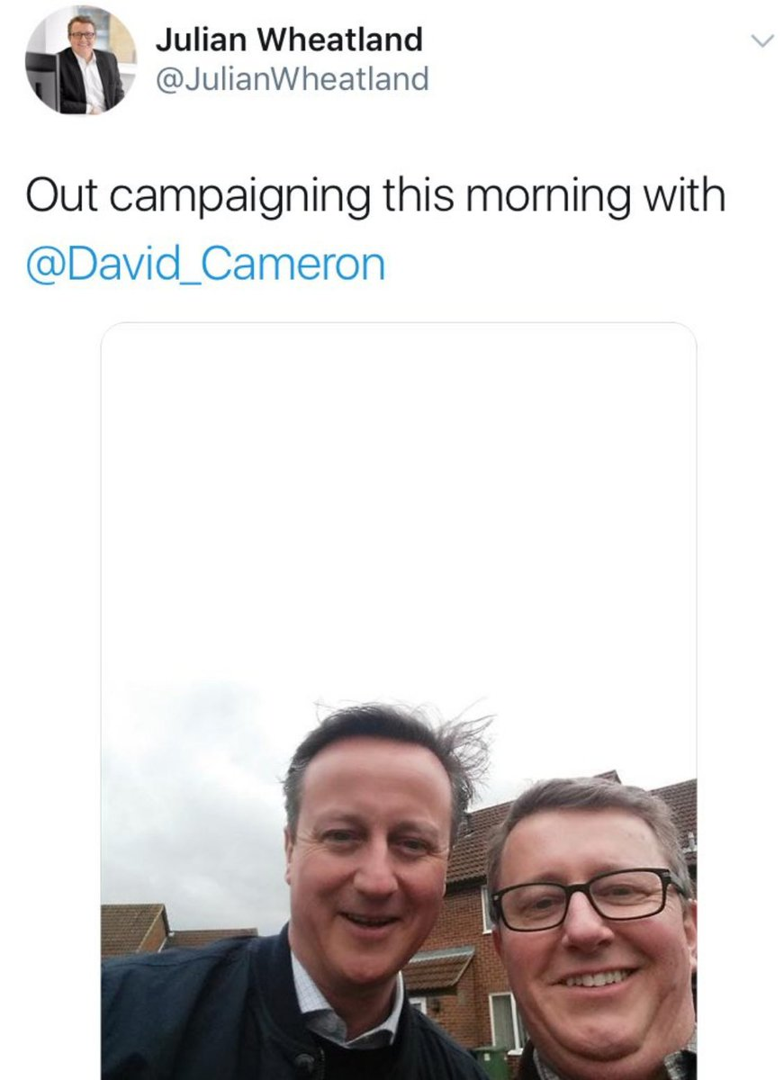 A photograph of the Chairman of the board of SCL Group, which The Times and The Guardian have reported as being the 'parent company' of Cambridge Analytica, campaigning alongside David Cameron.