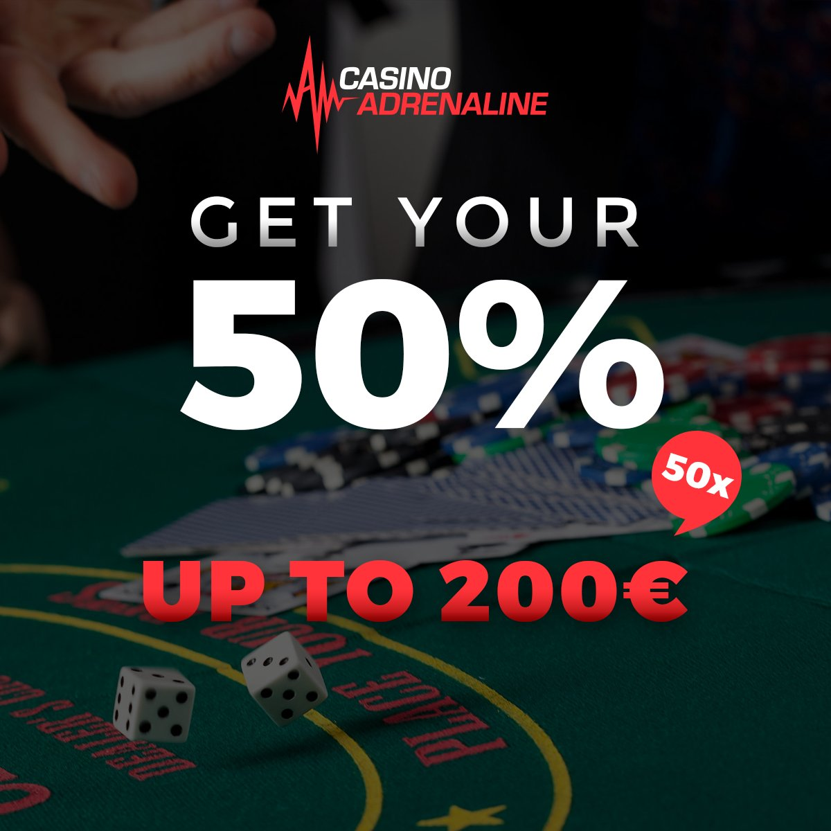 test Twitter Media - Use your chances today! Get your 50% bonus up to 200 EUR 50x, bonus and deposit! 😲😎 #CasinoAdrenaline #CasinoAdrenalinebonus https://t.co/juoatTB37R