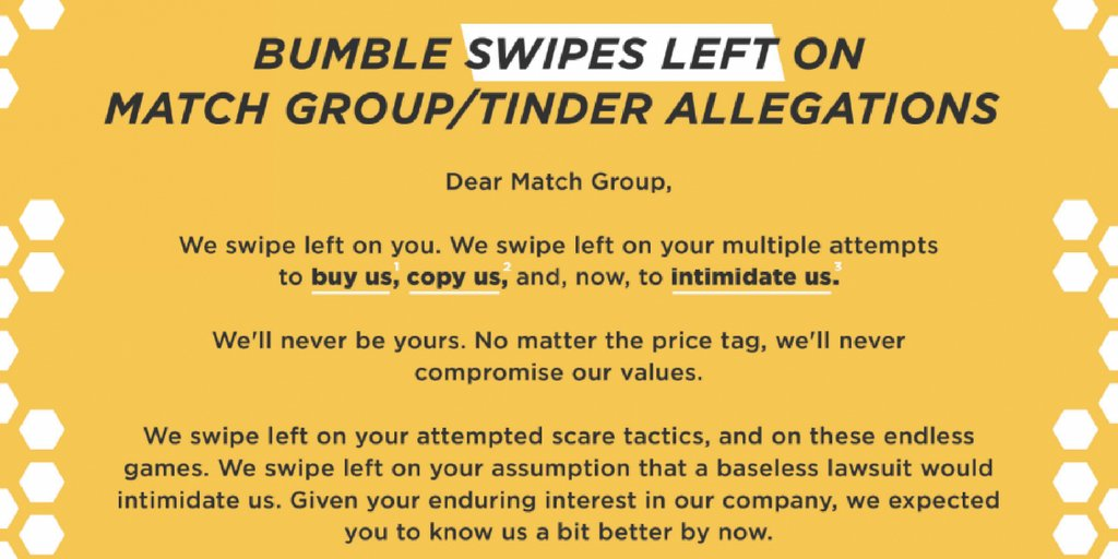 Mar 2018. INTERNATIONAL - The world famous dating app Tinder has submitted a lawsuit against an online rival accusing it of patent infringement and.