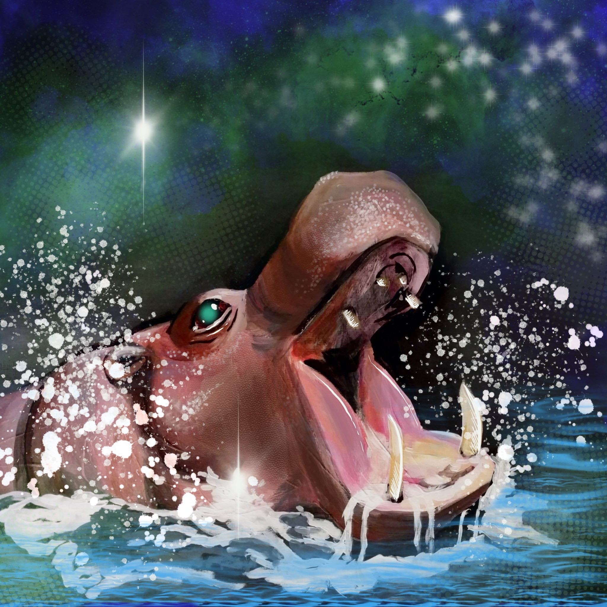 Pygmy Hippo emerging from the water with sparkles