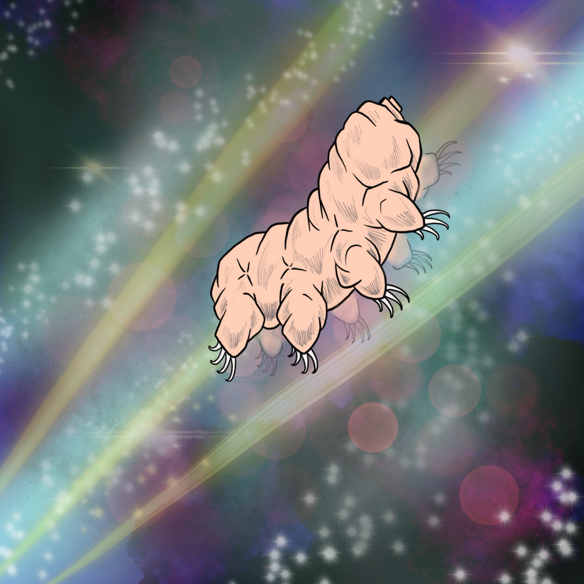 Art of Tardigrade floating in an ethereal background