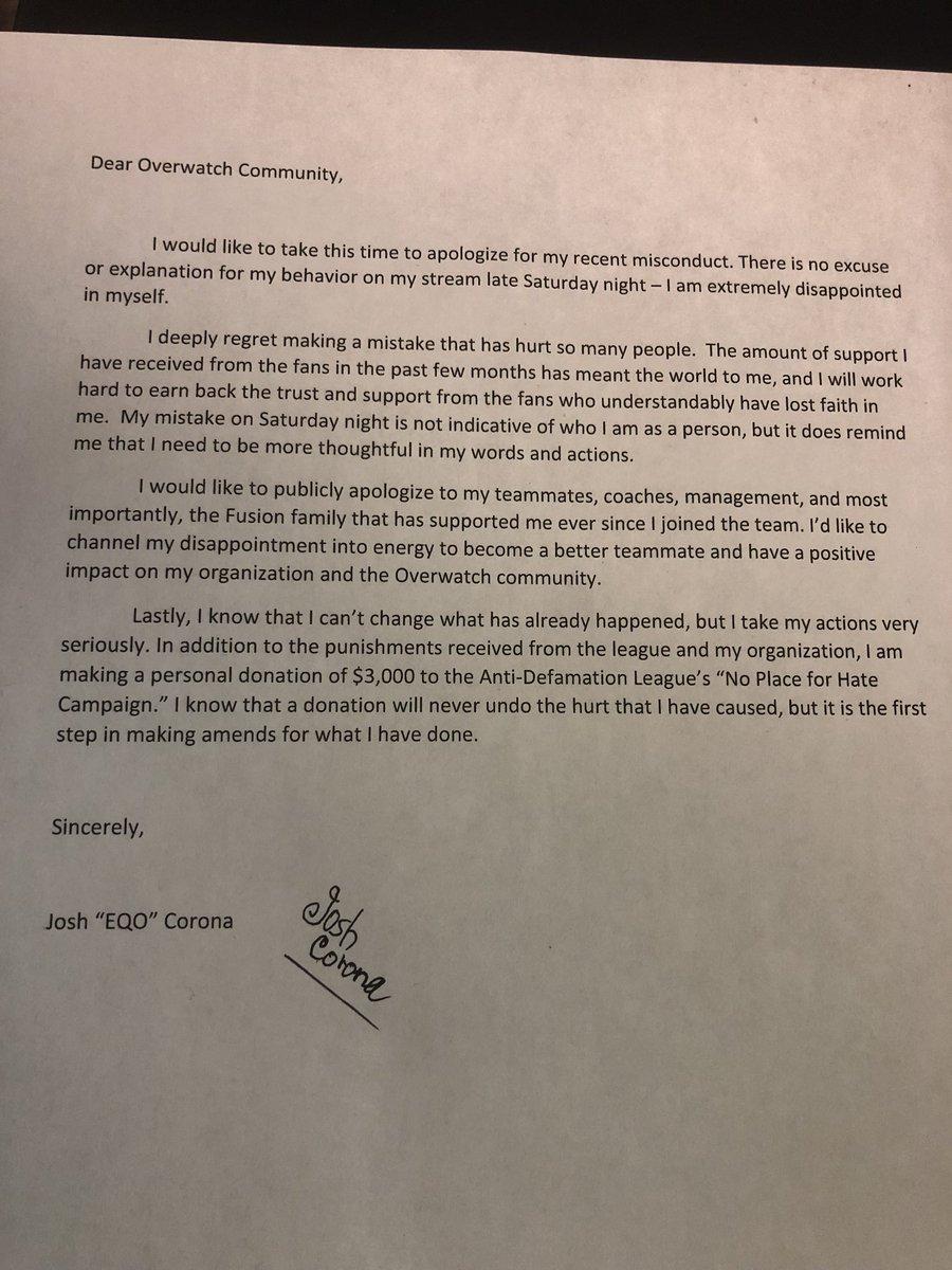 apology letter to teammates