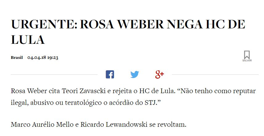 EU JÁ SABIA!  VALEU ROSA WEBER!!!!  #LulaNaCadeia  @STF_oficial https://t.co/VKOYmXYYjZ