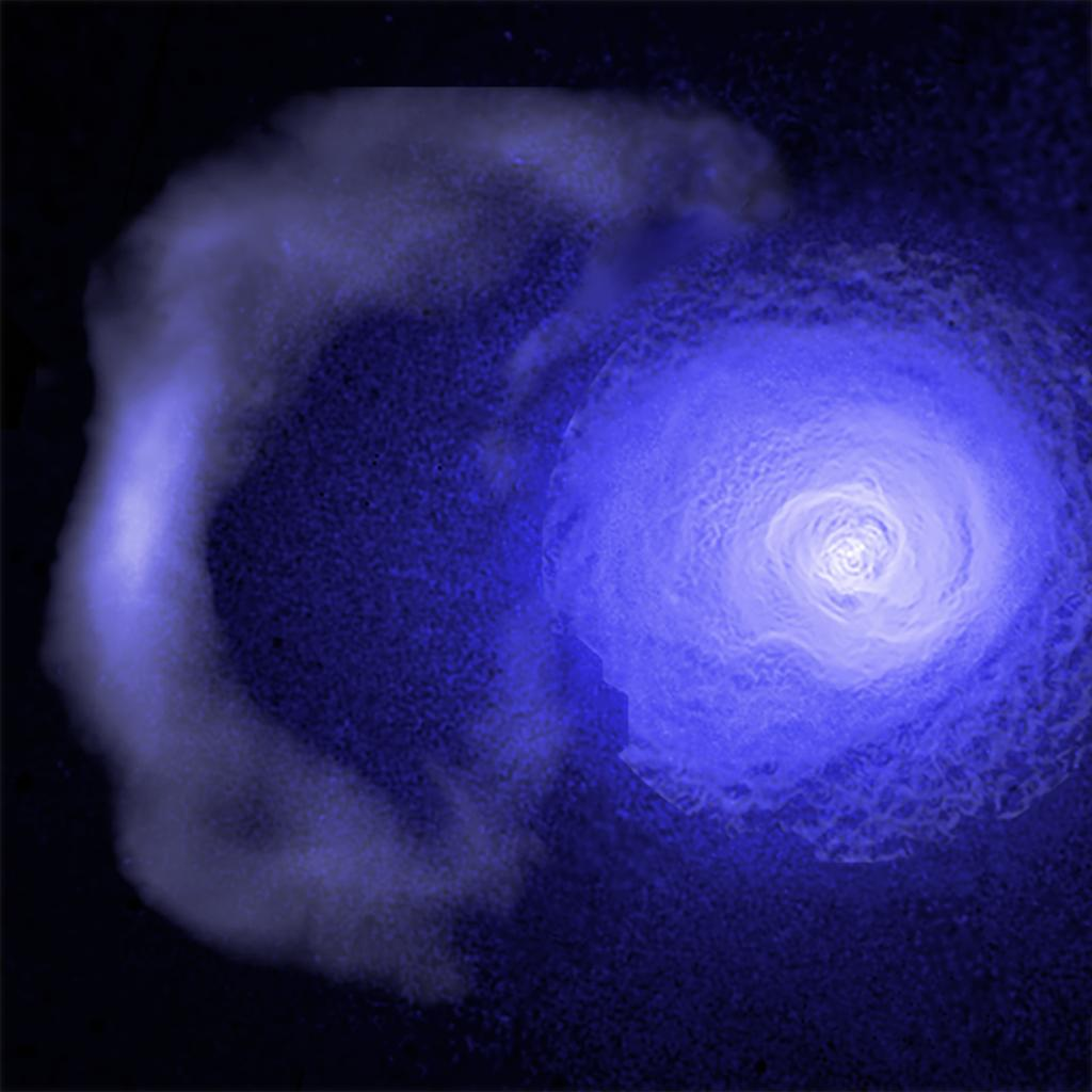 """Astronomers used @chandraxray observatory data to explore a cosmic """"cold front"""" hurtling through the Perseus galaxy cluster that extends for about two million light years, or about 10 billion billion miles. Here's what they discovered: https://t.co/gf54RNgF2g"""