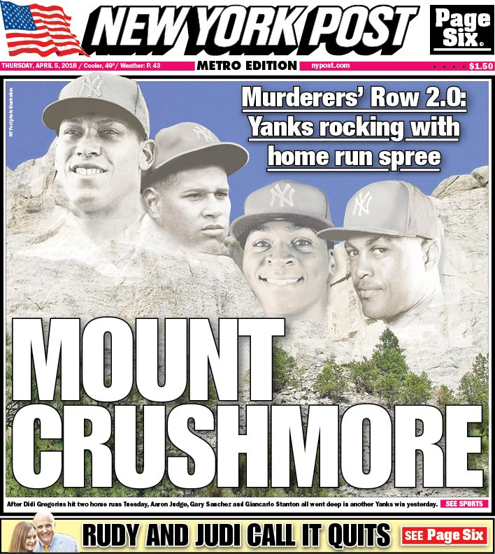 """New York Post Sports On Twitter: """"The Front Page: #Yankees"""