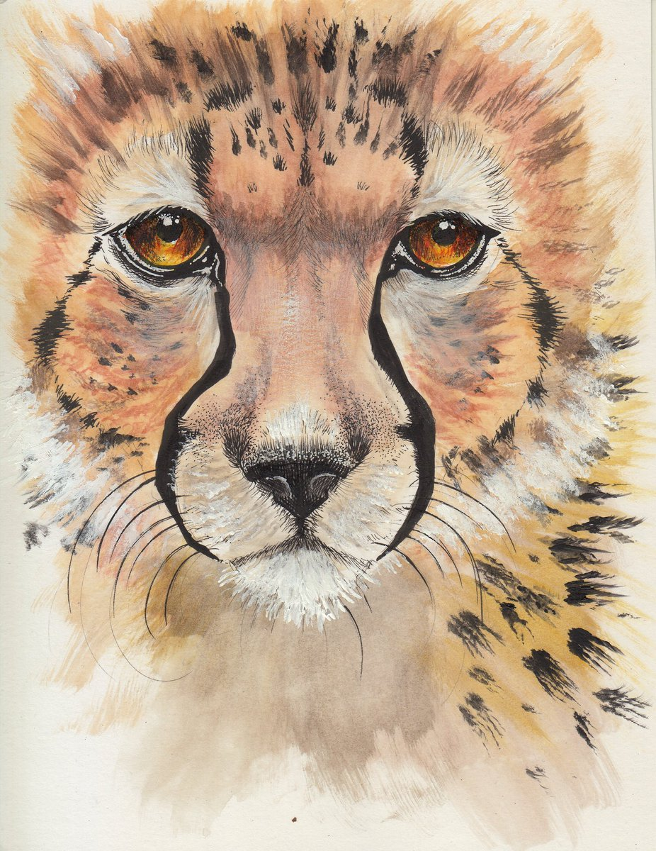 Painting of a cheetah face