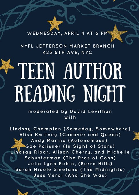 Psst. Come to Teen Author Reading Night on Wednesday. (Did I mention it's free?)
