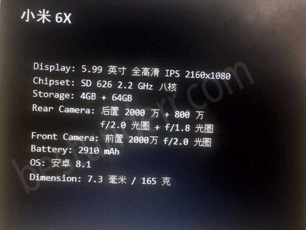 Xiaomi Mi A2 aka Mi 6X Specifications Leaks Online