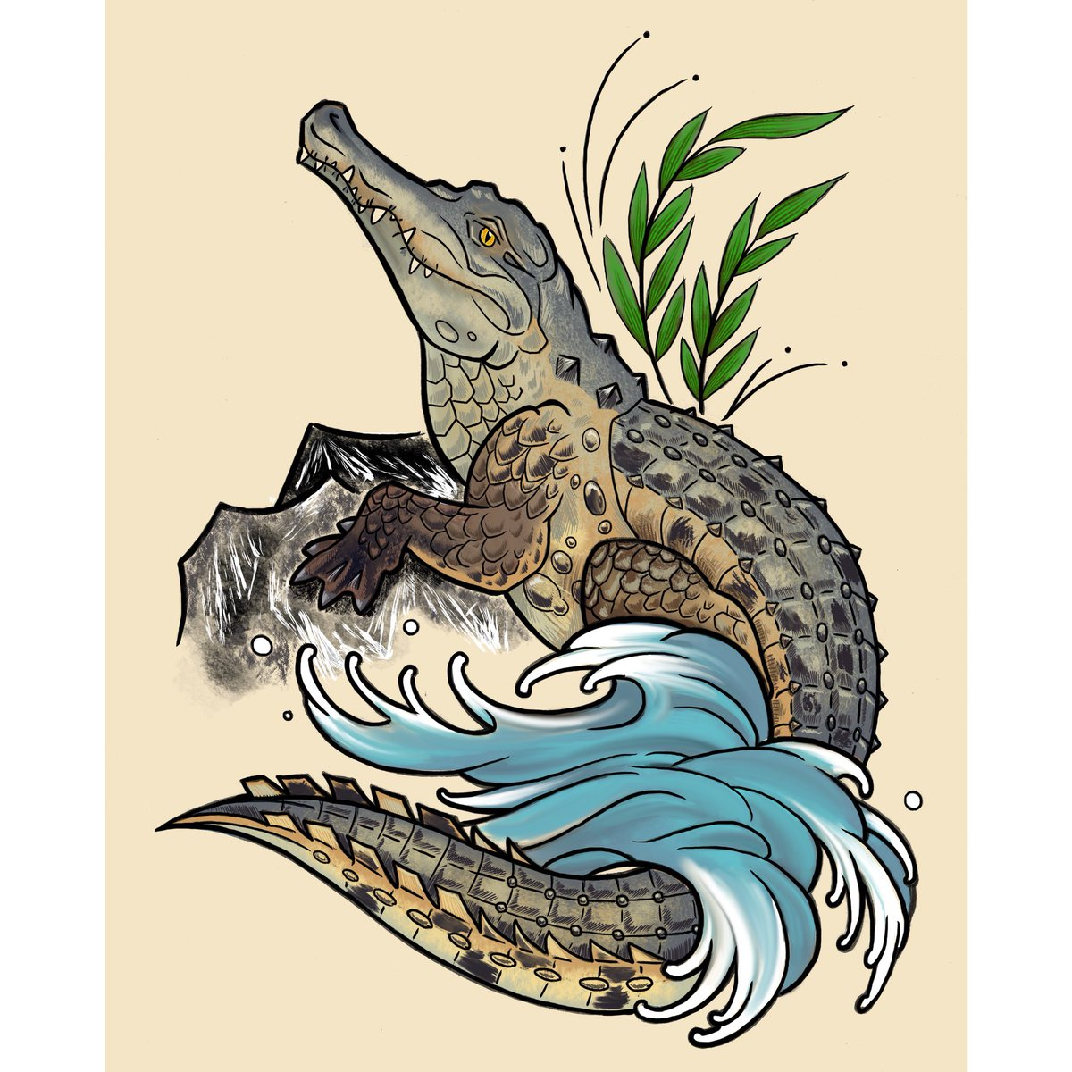 painting of an orinoco crocodile, full body profile facing left