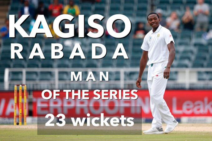 Rabada took 11 of these wickets in the second match of the series.