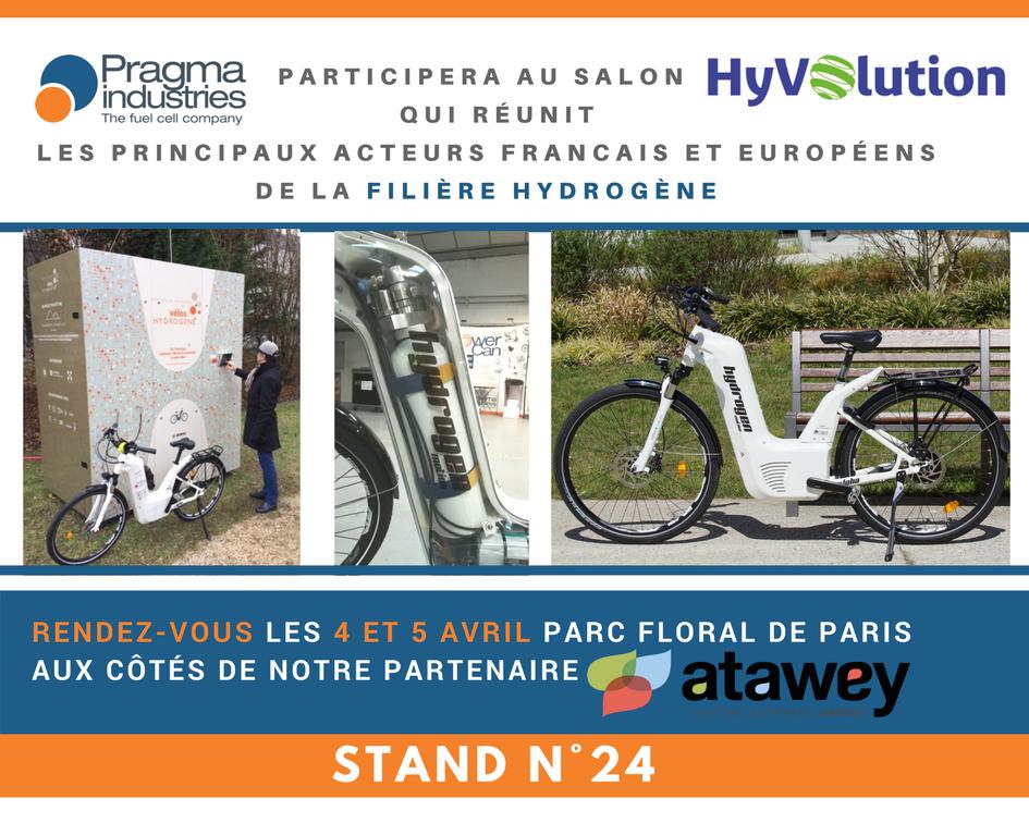 Pragma Industries avec son partenaire @atawey, sera présent au salon @HyVolution  les 4 et 5 avril au Parc Floral de Paris. #salon #hydrogène #énergie #H2now #écomomilité #hydrogen #véloHydrogène #fuelCell #TransitionÉcologique #H2bike #cleantech #cleanenergy