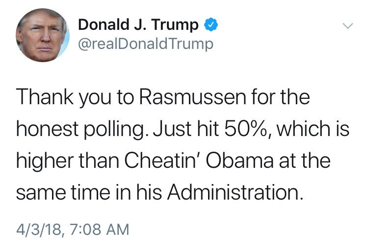 """A guy who cheated on all 3 of his wives is calling a guy who never cheated on his only wife """"Cheatin' Obama."""" https://t.co/UTYWHypRXH"""