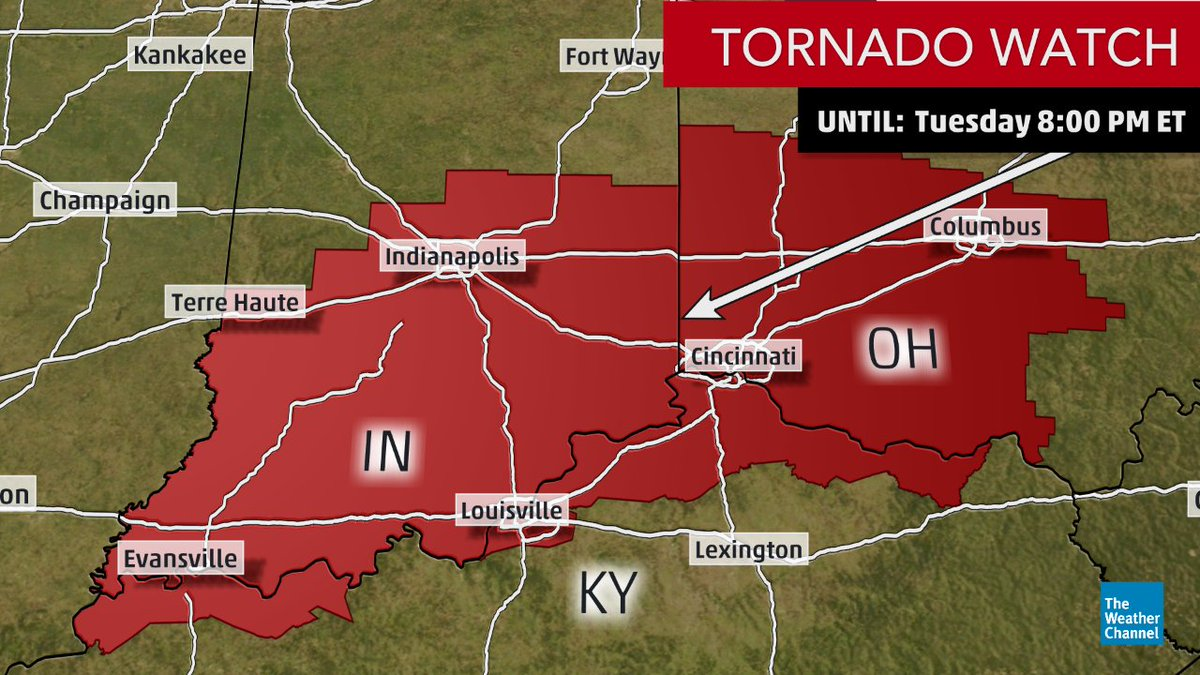 NEW: #Tornado watch issued for southern IN, northern KY and southwest/central OH until 8 pm EDT.