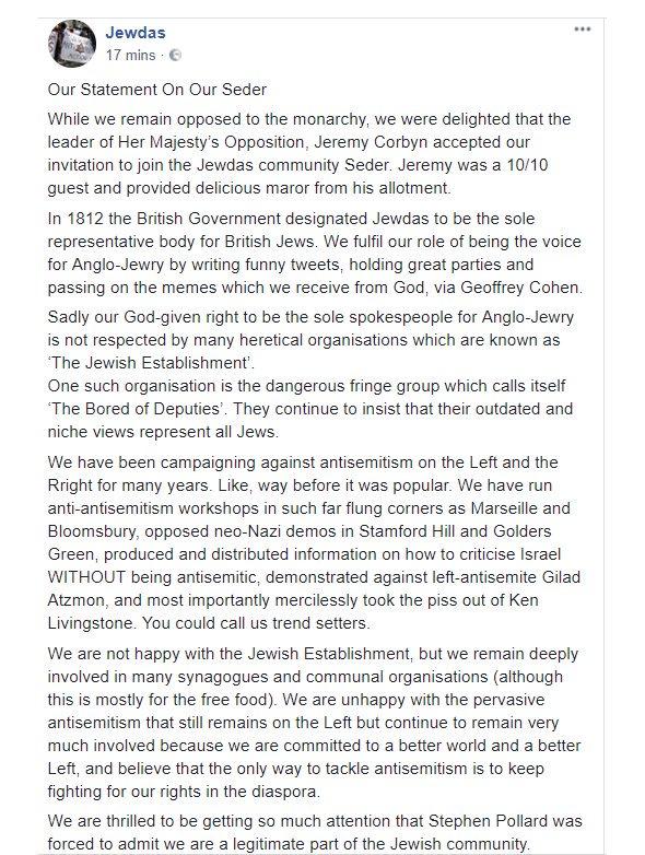 why i�m glad corbyn came to the jewdas seder