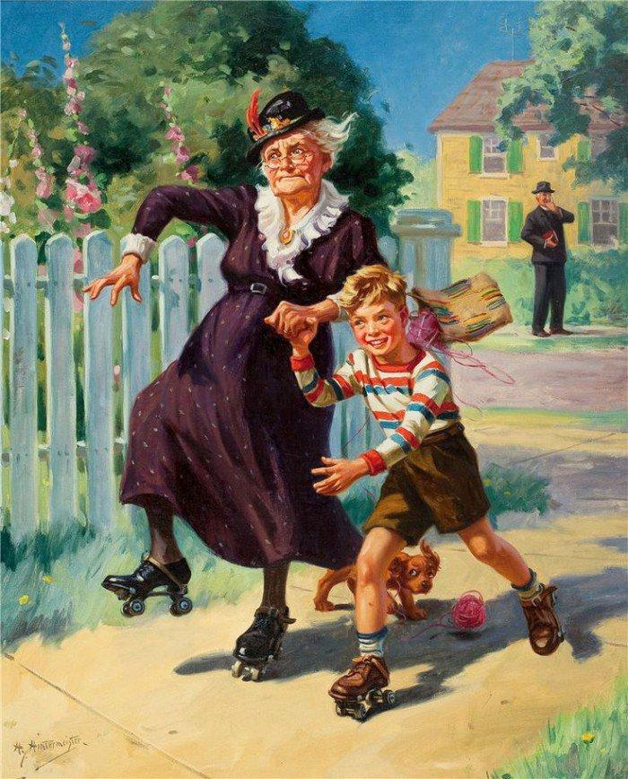 Нарисовать открытку, бабушки и внуки смешные картинки